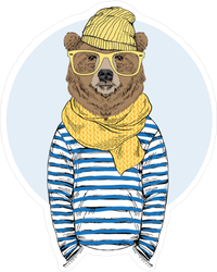 Funny Bear Dressed Up In Frock Sticker