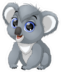 Funny Big Eyed Baby Koala Sticker