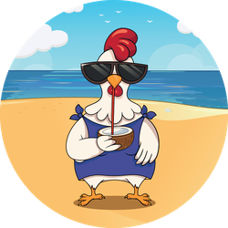Funny Bird Chicken On The Beach With Cocktail Sticker
