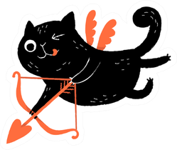Funny Black Cat Cupid With Bow & Arrow Sticker