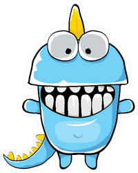 Funny Blue Dinosaur Cartoon Sticker