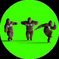 Funny Brown Gorilla Dancing Neon Green Sticker