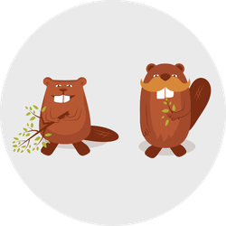 Funny Cartoon Beavers Sticker