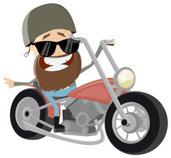 Funny Cartoon Biker Riding His Bike Sticker