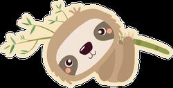 Funny Cartoon Hanging Sloth Sticker
