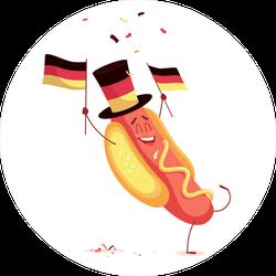 Funny Cartoon Hot Dog Holding Germany Flag Sticker