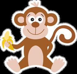 Funny Cartoon Monkey With Banana Sticker