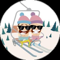 Funny Cartoon People In The Ski Lift Sticker