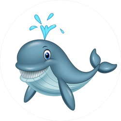 Funny Cartoon Whale Sticker
