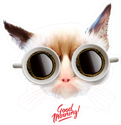 Funny Cat with Coffee Mug Glasses Sticker