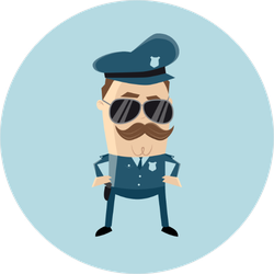 e06e126d Funny Cop With Sunglasses And Mustache Sticker
