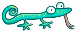 Funny Cute Green Lizard With His Tongue Out Sticker
