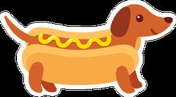 Funny Dachshund Hot Dog Sticker
