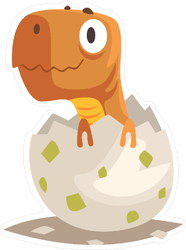 Funny Dinosaur Baby Hatching From Egg Sticker