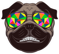 Funny Dog with Colorful Sunglasses Sticker
