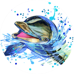 Funny Dolphin. Watercolor Illustration Sticker
