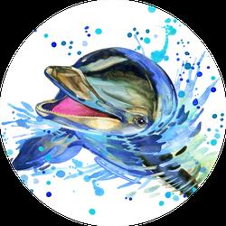 Funny Dolphin. Watercolor Illustration Sticker
