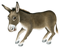 Funny Donkey. Watercolor Sticker
