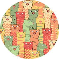 Funny Ferrets Seamless Pattern In Color Sticker