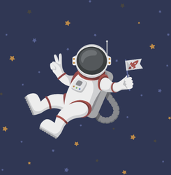 Funny Flying Astronaut In Space Sticker