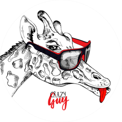 Funny Giraffe In A Sunglasses Crazy Guy Lettering Sticker