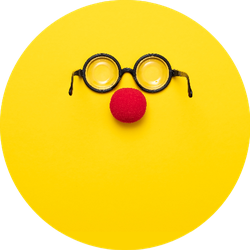 Funny Glasses, A Red Clown Nose On Yellow Background Sticker