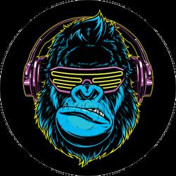 Funny Gorilla Listening To Music On Headphones Neon Sticker