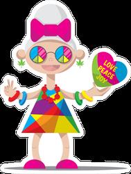 Funny Hippy Granny With Grey Hair Sticker