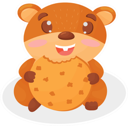 Funny Little Hamster With Cookies Sticker