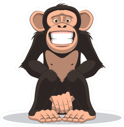 Funny Little Smiling Monkey Sticker