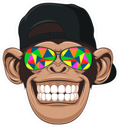 Funny Monkey With Glasses Sticker
