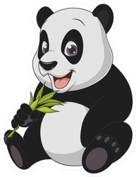 Funny Panda Bear Eating Sticker