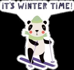 Funny Panda Skiing In Winter Sticker