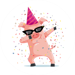 Funny Party Pig Dabbing Sticker