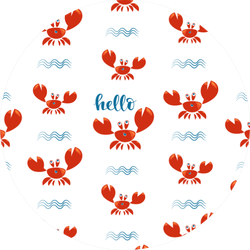 Funny Red Crabs And Waves Pattern Sticker