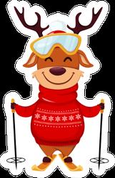 Funny Reindeer Goes Skiing Sticker
