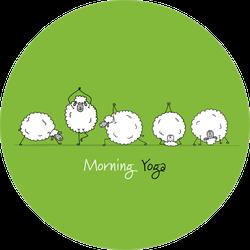 Funny Sheep Doing Yoga On Green Sticker