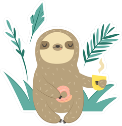 Funny Sloth With Doughnut And Coffee Sticker