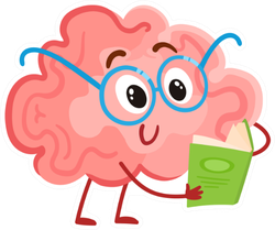 Funny Smiling Brain In Round Glasses Reading A Book Sticker