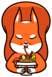Funny Squirrel Eats Noodles Sticker