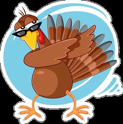 Funny Turkey Ready For Celebration Cartoon Dabbing Sticker