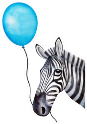 Funny Zebra Character Holds A Balloon Sticker