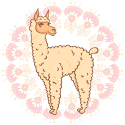 Furry Llama In A Round Frame With Flowers Sticker