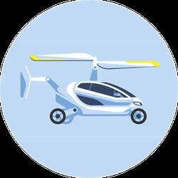 Futuristic Flying Car Sticker