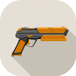 Futuristic Laser Gun Flat Illustration Sticker