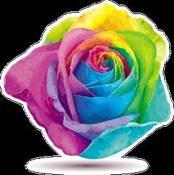 Futuristic Rose Colored In The Spectrum Colors Sticker