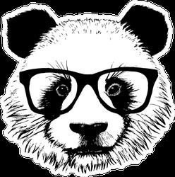 Fuzzy Panda With Glasses Sticker