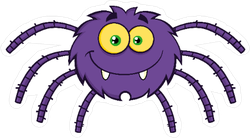 Fuzzy Purple Spider Sticker