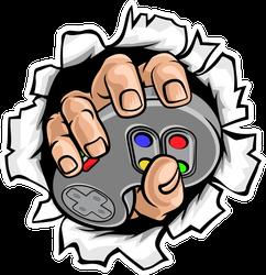 Gamer Hand Holding A Controller Sticker