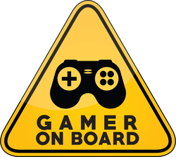 Gamer On Board Yellow Car Window Sticker